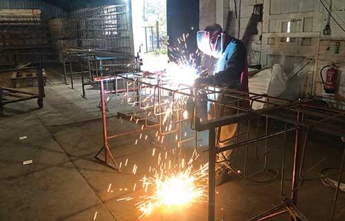 Prefabricated Welded Steel Cage in Workshop
